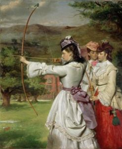 The Fair Toxophilites: English Archers, Nineteenth Century by William Powell Frith, 1872. Held at the Royal Albert Memorial Museum.